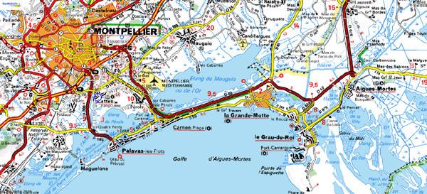 Carte du littoral de Camargue (autour de Montpellier - Hérault, France)