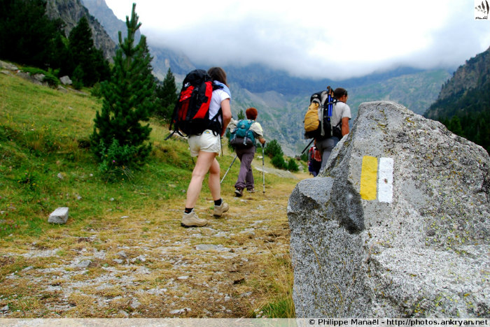 Signalétique de randonnée, PR (Cirque de Barrosa, Huesca, Espagne - Les Pyrénées)