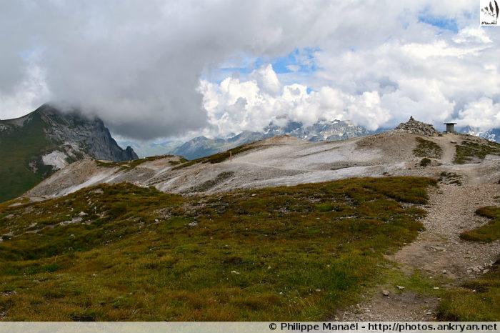 Arrivée au sommet du Petit Mont Blanc (Vanoise, Savoie, France)