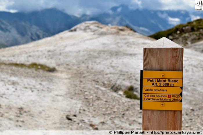 Pancarte Petit Mont Blanc (Vanoise, Savoie, France)