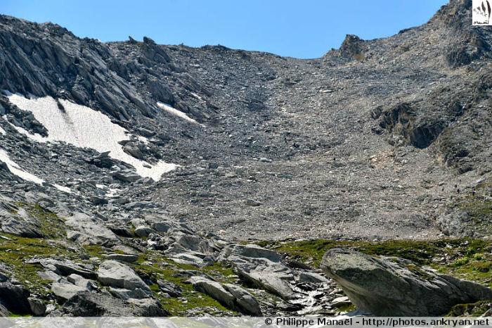Pierrier du col d'Aussois, massif de la Vanoise (Savoie, France)
