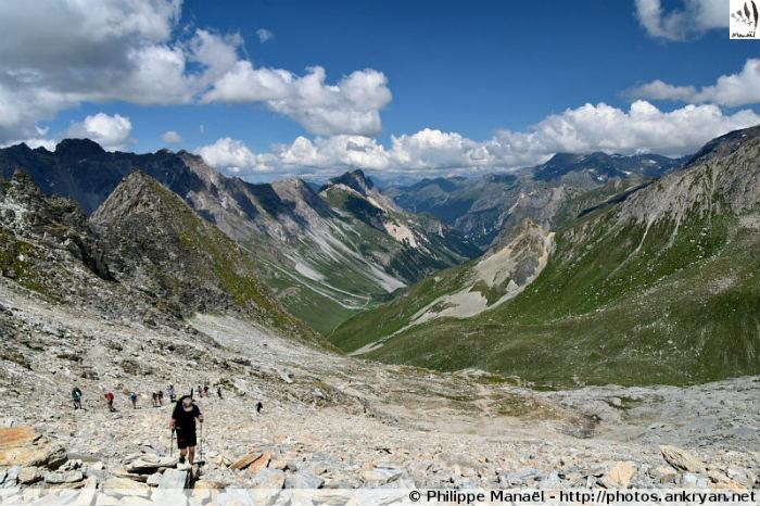 Zone d'éboulis, col d'Aussois, massif de la Vanoise (Savoie, France)