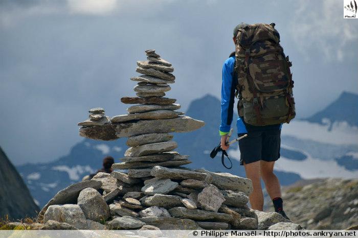 Cairn sommital, col d'Aussois, massif de la Vanoise (Savoie, France)