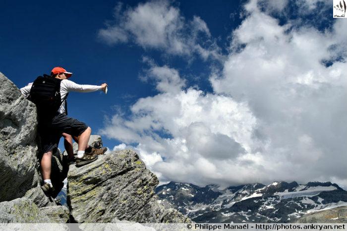 Ascension de la Pointe de l'Observatoire (trekking Les Hauts de la Vanoise). France, Rhône-Alpes, Savoie