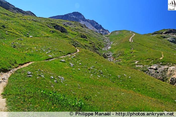 Sentier GR5 vers le col du Plan Séry, Champagny-en-Vanoise (Savoie, France)
