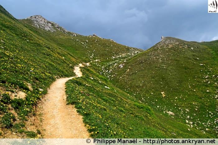 Sentier vers le col de la Croix des Frêtes (Vanoise, Savoie, France)
