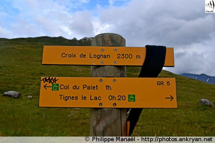 Panneau Croix de Lognan, Tignes Val Claret (Vanoise, Savoie, France)