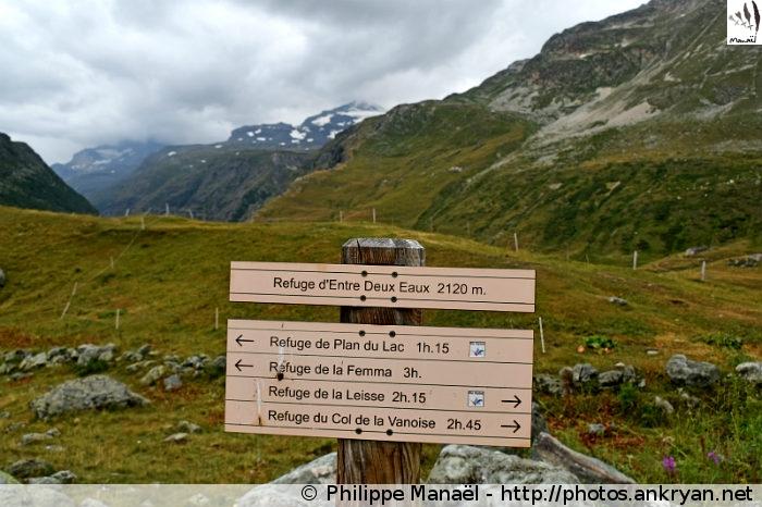 Panneau au refuge d'Entre-Deux-Eaux, Termignon (Vanoise, Savoie, France)